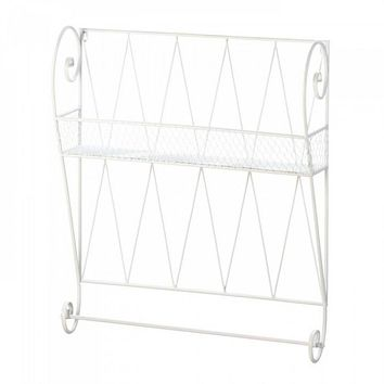 Decorative White Wire Wall Shelf