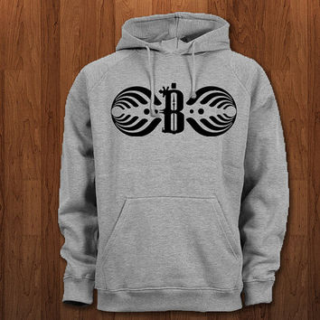 bassnectar B logo Hoodie for size s-3xl, for color black, white, gray, and red