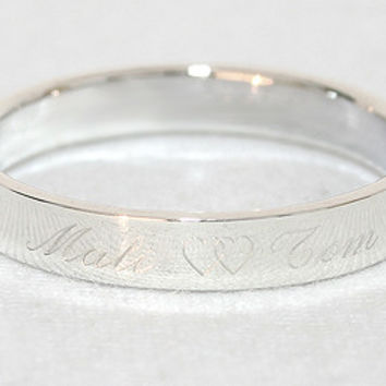 Personalized Ring .925 Sterling Silver Ring Engraved Silver Engraved Ring 4 mm width