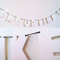 BEYONCE - Woke Up Like This Glitter Banner Wall Decoration Garland - Beyonce Flawless - Sparkly White
