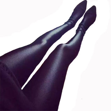 New 2015 Womens Shiny Lustrous Black Leggings Sports Pants Shaping Pants Leggings Chinlon High Elastic Fitness Leggings Women