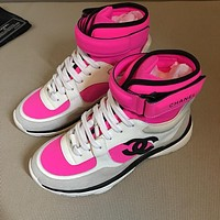 CHANE LV Double C Women Fashion Top High Casual Sneaker sport running white Shoes Best quality