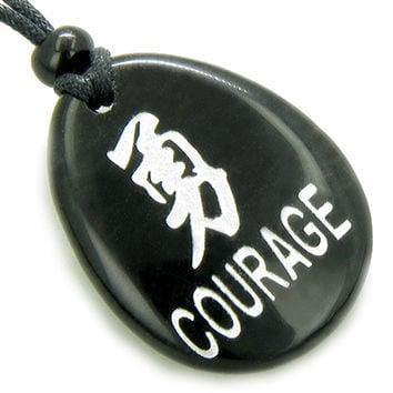 Kanji Symbol Courage Black Agate Amulet Word Stone Pendant Necklace