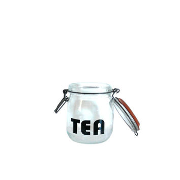Vintage Glass Jar Canister - Tea - French - Black Lettering 3/4 Liter