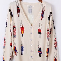 Rabbit Print Cardigan
