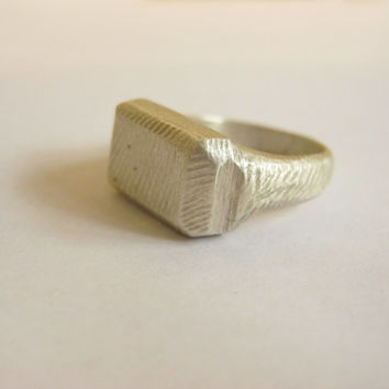 signet ring, sterling silver, one of a kind, hand made, van gogh, faceted, statement ring, designer ring, men's ring,flat head, pinkie ring