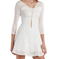White Scalloped Lace Skater Dress by Charlotte Russe