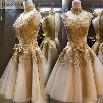 JC&STAR cheap short prom dress 2017 Gold Royal Blue White Pink Red Mint Green Yellow Prom Dress See Through Prom Dresses