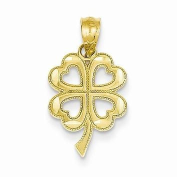14k Gold Four Leaf Clover Pendant