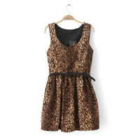 Leopard Sleeveless Vest Dress Waistband One Piece Dress [4917880196]