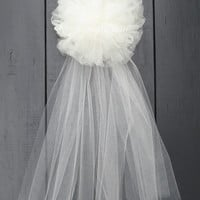 Ivory or White Tulle Wedding Pew Bow