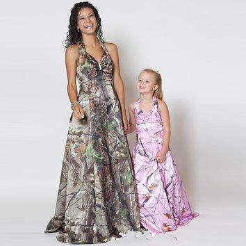 Cheap Camo Bridesmaid Dress Camo Western Garden Bridesmaid Dresses Robe Demoiselle D'honneur Camo Bridesmaid Floor Length Dress