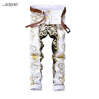 New men jeans high quality Color printing design classic slim fit fashion long jeans men  European style #584