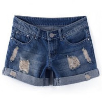 Blue Destroyed Wash Denim Shorts