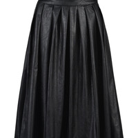 Black PU Pleated Midi Skirt
