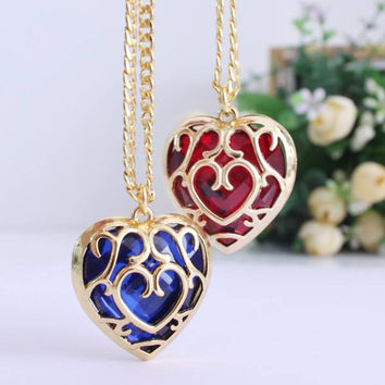 The Legend of Zelda - Heart Container Necklace Blue And Red