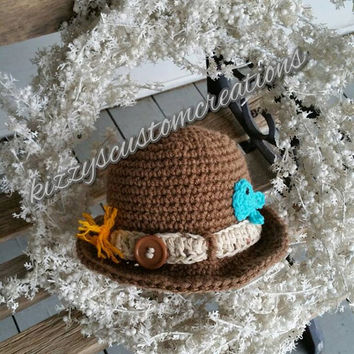Handmade Crochet 3-6 Month Toddler Baby little Fishing Buddy Hat