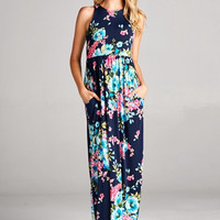 Navy Floral Racerback Maxi Dress w/Pockets - SM-XL