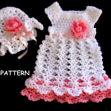 Crochet Pattern  Baby Dress and Hat in 6 sizes -newborn to 24 months
