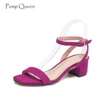 PumpQueen Sandals Women Summer Ladies Purple Shoes Woman Block Heels Pig Leather Insole Ankle Strap Zapatos Sandalias Mujer 2018