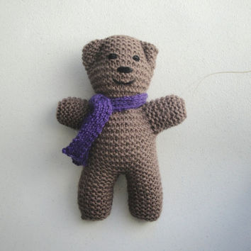 Knitted Bear in Scarf, Small Teddy Bear, Stuffed Toy, Girls Boys Baby, Christmas