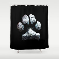 Dog Paw Print Pop Art Animal Lovers - South Paw Shower Curtain by Sharon Cummings | Society6