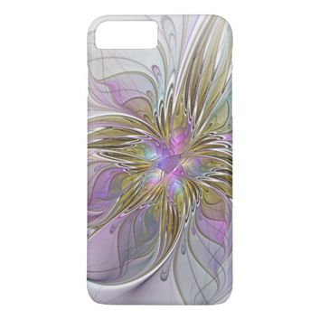 Floral abstract and colorful Fractal Art iPhone 7 Plus Case