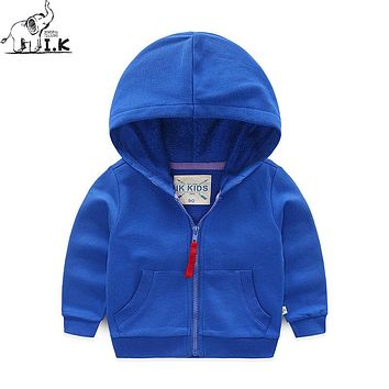 I.K Baby Boys Girls Spring Autumn Hoodies Blue Red Coats Children Fashion Jacket With Zipper Kids Cotton Clothing Qualit HJ1001