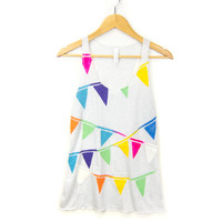 Triangle Bunting - Racerback Hand Stenciled Banner Slouchy Scoop Neck Women's Swing Tank Top in Ash Grey and Multi Rainbow - S M L XL 2XL