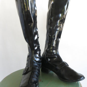 Genuine Mod GoGo BOOTS size 7 Black Patent Leather Vinyl JAPAN 1960s Beatlemania