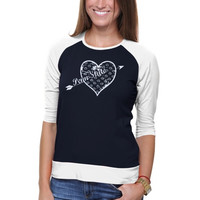 Penn State Nittany Lions Ladies Raglan Heart Three-Quarter Sleeve T-Shirt - Navy Blue/White