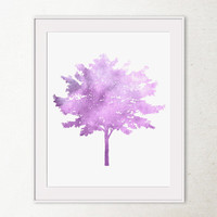 Printable wall art Tree wall decor, Tree print, Nature art, Wall print, Purple spring art, Baby purple decor, Purple art, Digital home decor