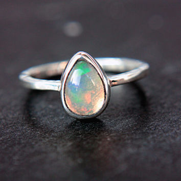 Opal Ring Sterling Silver Natural Ethiopian Welo Opal Ring Size 6-7 Silversmithed Metalsmithed Pear Shape