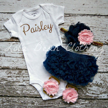Baby Girl Take Home Outfit Newborn Baby Girl Custom Onesuit Bloomers Headband Sandals Set Navy Pink Gold Silver