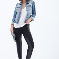 LOVE 21 Striped Faux Leather Leggings Black