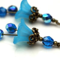 Vintage Style Aqua Blue Lucite Flower and Peacock Czech Bead Dangle Charm Drop Set - 2 Pieces