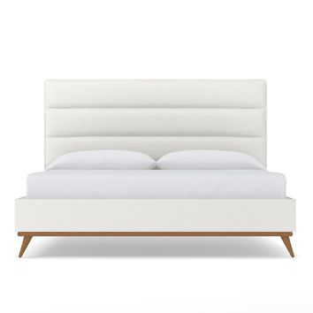 Cooper Upholstered Bed EASTERN KING in PURE WHITE - CLEARANCE