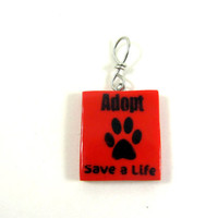 Pet Adoption Pendant Red paw print Adopt by PhotoPerfectJewelry