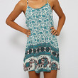 Printed Spaghetti Strap Mini Dress in Red Green or Light Blue