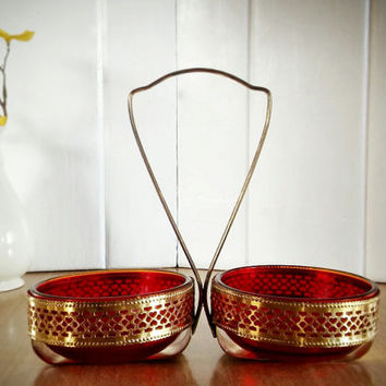 Vintage Red Glass Relish Serving Caddy Double Bowl, Red Depression Glass and Brass Bowls with Handled Server