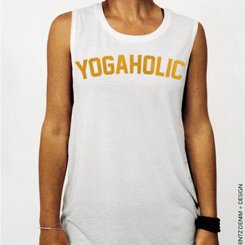 Yogaholic - White with Gold Muscle Tee Tank T-shirt