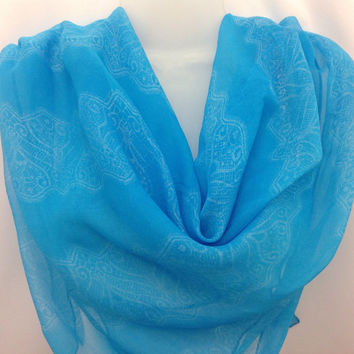 Sky Blue Silver Silk square shawl, Light Blue silk scarf, Gift for coworker, Holiday Gift, Best friend Gift, Lace design scarf