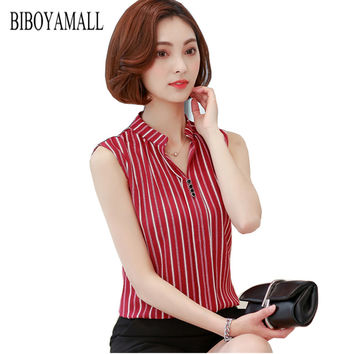 BIBOYAMALL Women Blouse Fashion 2017 Summer Chiffon Blouse Plus Size Sleeveless Print Casual Shirt Tops Women Work V-neck Blusa