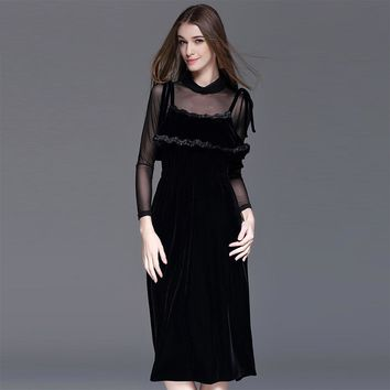 Black Turtleneck T-Shirt Collect Waist Mid-Calf Women's Party Dress
