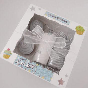 Fox Baby Boy Gift Washcloth Cupcakes Gift Box 6 month