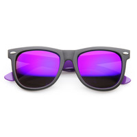 Large Retro 2 Tone Flash Mirror Lens Horned Rim Sunglasses 9633