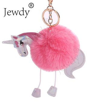 Unicorn pom keychain Artificial pompoms rabbit fur ball pompon key chain women bag car keyring porte clef holder fluffy pom pom