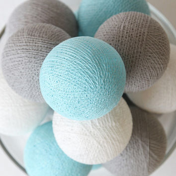 20 Cotton Ball String Lights for Bedroom, Wedding Light, Patio Party, Fairy, Outdoor -  Pastel Blue Grey White