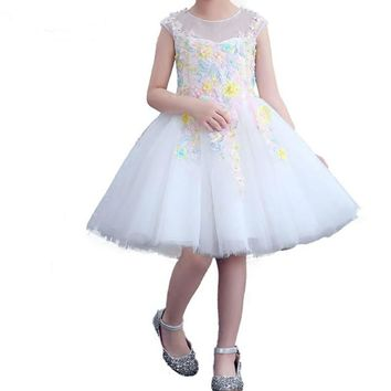 Girl Evening Dress Pink White Tulle Flower Girl Dress Embroidery Appliques Children Gowns