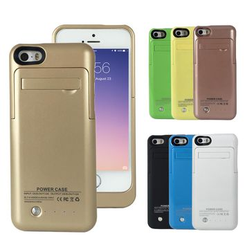 External Battery 2200mAh Charger Case Power Bank for iPhone 5 5C 5S SE Backup Battery Wireless Charging Case with Kickstand